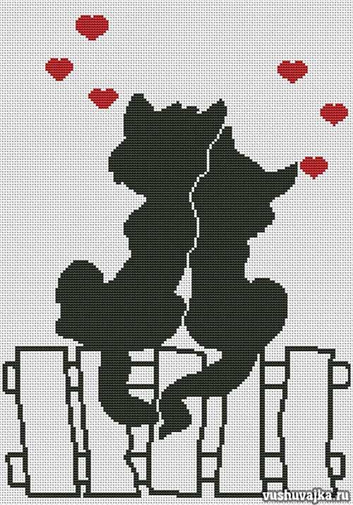 Кошка монохромная вышивка