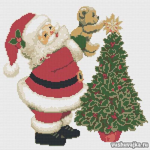 """Новогодняя вышивка """"Дед Мороз"""""""