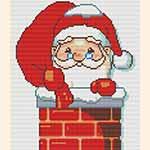 """Схемы для вышивки крестом. Вышивка """"Дед Мороз в трубе"""""""