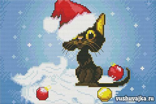 новогодняя вышивка кота