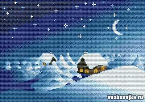 Рождественские Пейзажи Вышивка Крестом Схемы