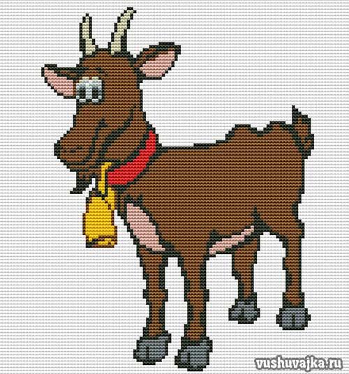 Вышивка крестом коза фото 360-945