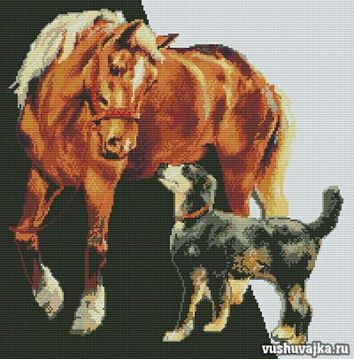 """Вышивка крестом """"Лошадь и пёс"""""""