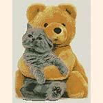 """Вышивка крестом """"Мишка и котенок"""""""