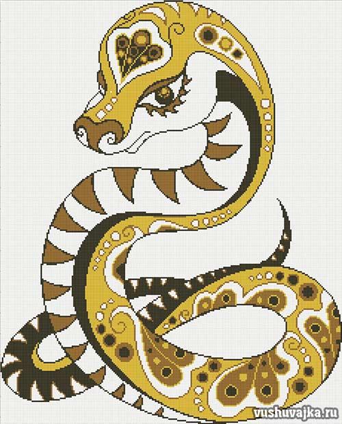 """Вышивка крестом """"Змея"""""""