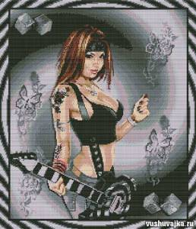 """Схемы вышивки крестом. Вышивка """"Девушка с гитарой"""""""