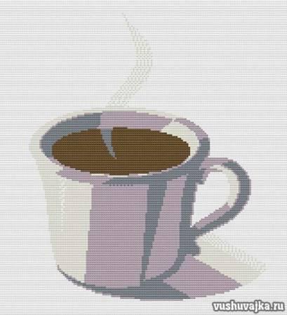 Вышивание крестиком. Кофе вышивка монохром.