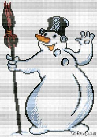 """Схемы для вышивки крестом """"Снеговик"""""""