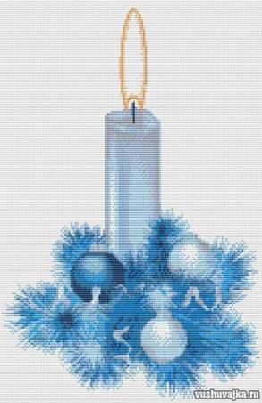 """Схема для вышивки крестом """"Новогодняя свеча"""""""