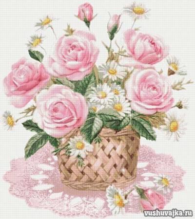 """Вышивка крестом схемы """"Цветы в корзинке"""""""