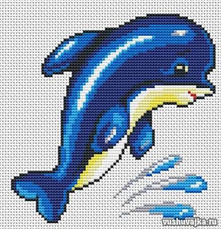 """Вышивка крестом для начинающих """"Дельфин"""""""
