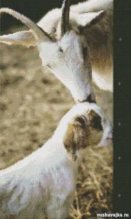 """Вышивка крестом """"Коза с козленком"""""""