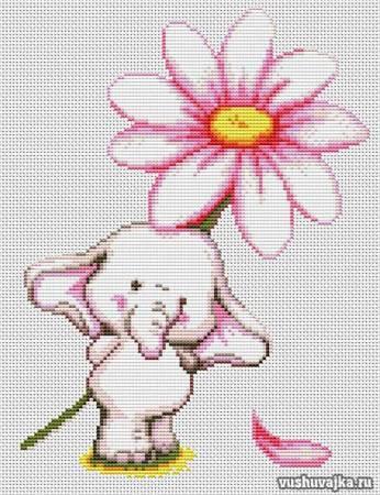 Вышивка слоника с цветком