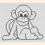 Вышивка  крестом обезьяна