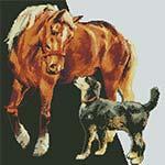 Вышивка крестом лошади и пса