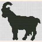 """Вышивание крестиком. Монохромная вышивка """"Коза"""""""