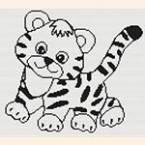 """Монохромная вышивка """"тигр"""""""
