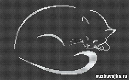 """Монохромная вышивка """"Кошка"""". Вышивание крестиком"""""""