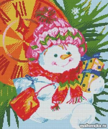 """Схемы для вышивки крестом. Вышивка """"Новый год и снеговик"""""""