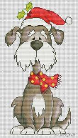 Новогодняя вышивка крестом собаки