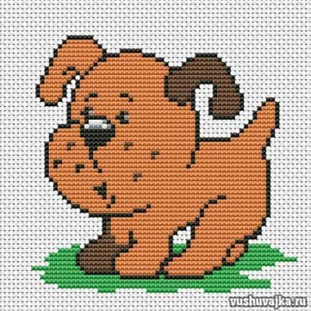 Простая вышивка крестом собаки