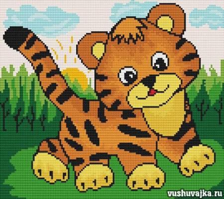 вышивка тигр схема