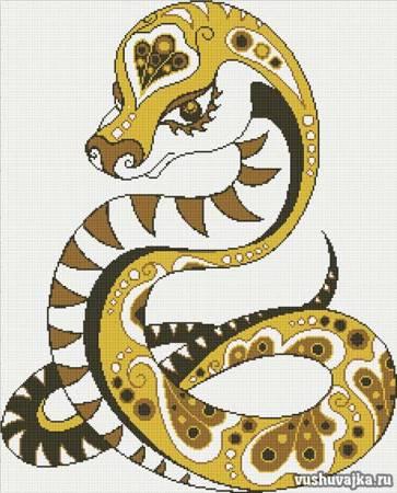 вышивка крестом змеи