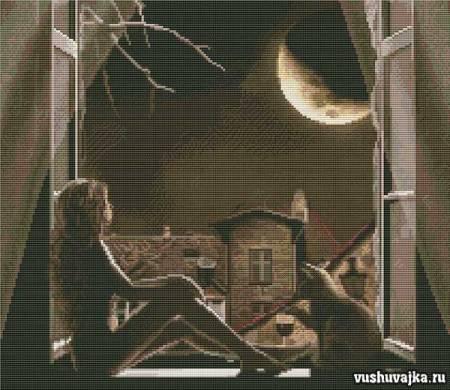 """Вышивка """"У окна"""". Девушка луна и кошка"""